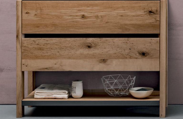 Ripiano legno con telaio metallo finitura Titanio - loetrà