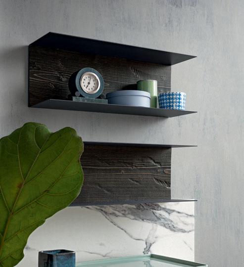 Mensole metallo con schienale legno Struttura in finitura Titanio loetrà